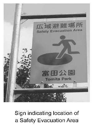 Sign indicating location of a Safety Evacuation Area