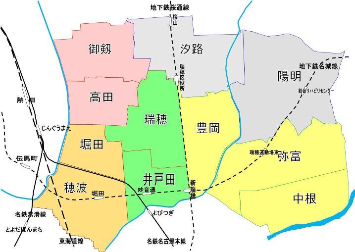 瑞穂区の学区割の地図